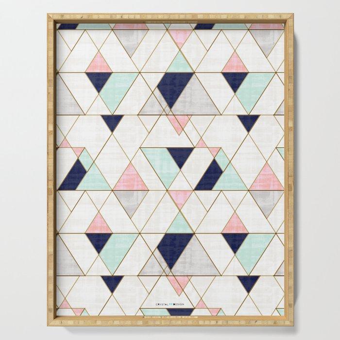 Mod Triangles - Navy Blush Mint Serving Tray