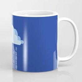Digital rain on a blue background Coffee Mug