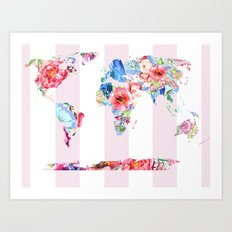 Floral World - Pink Stripe Art Print