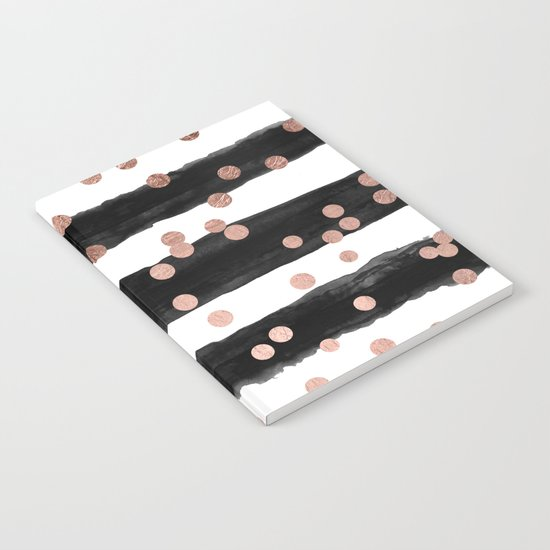 Girly rose gold confetti black watercolor stripes Notebook