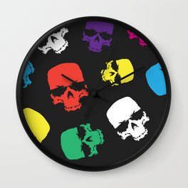 Skulls colorful pattern Wall Clock