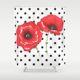 Poppies and polka dots Shower Curtain