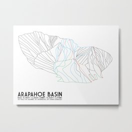 Arapahoe Basin, CO - Minimalist Trail Map Metal Print