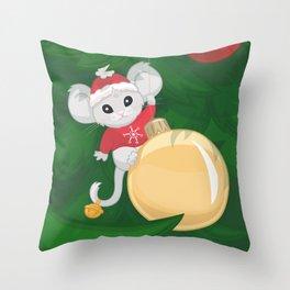 Christmas Mouse Throw Pillow
