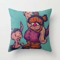 monster high Throw Pillows featuring High 3 by Macacos Flamejantes