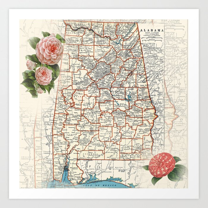 Alabama map with Camelias Art Print