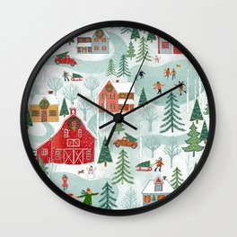 New England Christmas Wall Clock