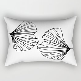 Ginkgo Leaves 01 Minimal Line Art Rectangular Pillow