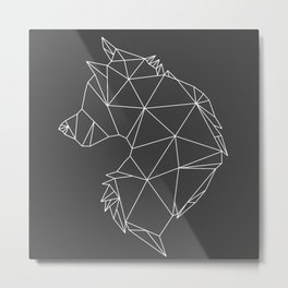 Geometric Wolf (White on Grey) Metal Print
