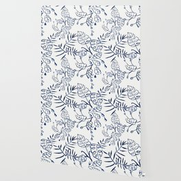 Tropical Plant Boho Chinoiserie Blue and White Wallpaper