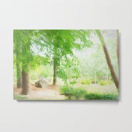 Beautiful green maple in summer day Metal Print