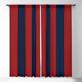Navy Three Red Bars Blackout Curtain