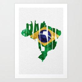 Brasil Typographic World Map / Brasil Typography Flag Map Art Art Print