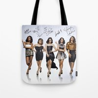 fifth harmony Tote Bags featuring Fifth Harmony  by stephanie