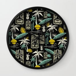 Island Tiki - Black Wall Clock