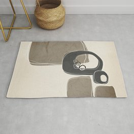 Retro Abstract Design in Charcoal Grey and Taupe Rug
