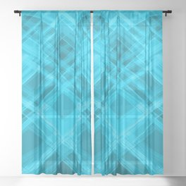 Swirling light blue ribbons with a pattern of symmetrical checkerboard rhombuses.  Sheer Curtain
