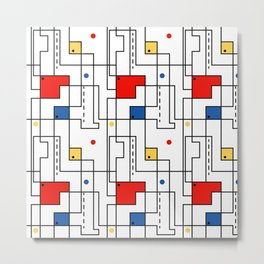 Retro Abstract Circuitry Metal Print