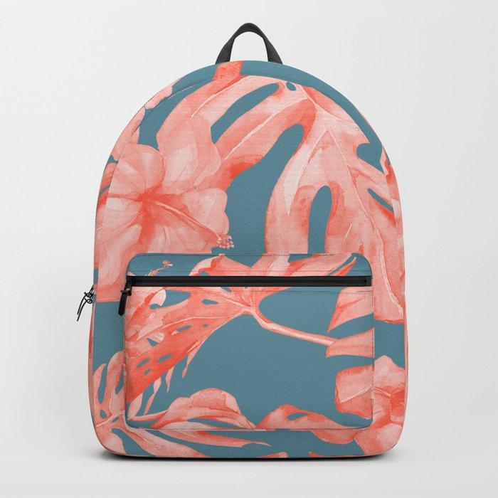 Island Life Coral on Deep Teal Blue Backpack