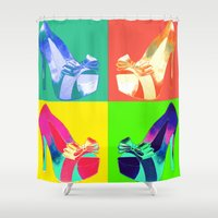 shoe Shower Curtains featuring Pop Shoe by Carly Roberts