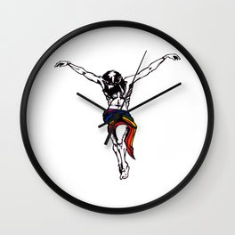 Christ Wearing Rainbow LGBTQ Loincloth Isolated Wall Clock