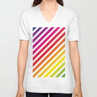 striped V-neck T-shirts featuring Striped Rainbow by Stephanie Keyes Design