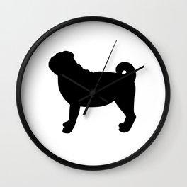 Pug (Black/White) Wall Clock