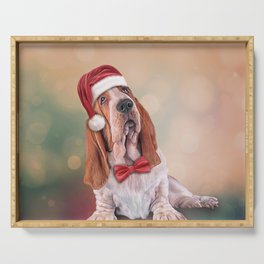 Drawing funny dog. Basset Hound in red hat of Santa Claus Serving Tray