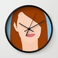 emma stone Wall Clocks featuring Emma Stone Digital Portrait by RoarsAdams