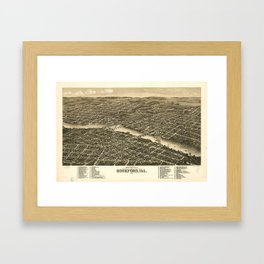 Bird's eye view of the city of Rockford, Illinois (1880) Framed Art Print