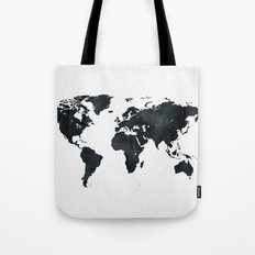 World Map in Black and White Ink on Paper Tote Bag