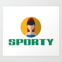 spice girls Art Prints featuring SPORTY SPICE by Chilli Cactus