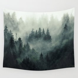 Green misty mountain pine forest in cloudy and rainy - vintage style photo Wall Tapestry