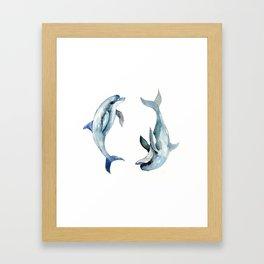 Dolphin, Two Dolphins, chidlren room decor illustration dolphin art Framed Art Print