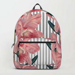 Pink Orchids And Grey Pinstripes Backpack