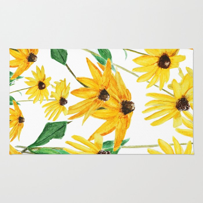 Yellow sun choke flower rug by colorandcolor society6 yellow sun choke flower rug mightylinksfo