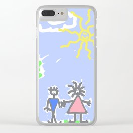 child's drawing with happy family Clear iPhone Case