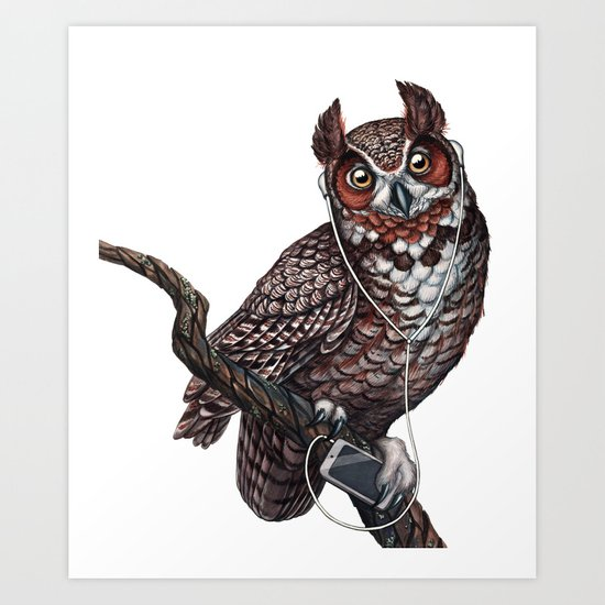 Great Horned Owl with Headphones Art Print