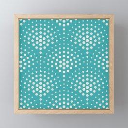 Alabaster White Solid Color Polka Dot Scallop Pattern on Aqua Teal Turquoise - Aquarium SW 6767 Framed Mini Art Print