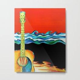 Guitar Beach Metal Print