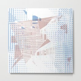 Pink random shapes on blue dotted squares pattern and white background Metal Print
