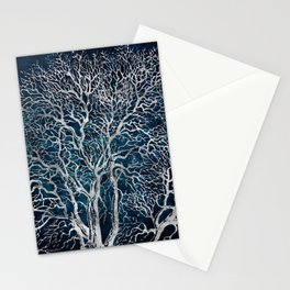 Midnight Silver tree - Wallnut Stationery Cards