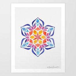 Snowflake - Blue and Yellow Art Print