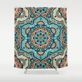 Colorful abstract ethnic floral mandala pattern design Shower Curtain