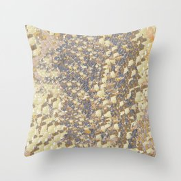 Denim Blue with Cream and Brown Throw Pillow