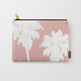 White Palm Trees On Rose Gold Carry-All Pouch