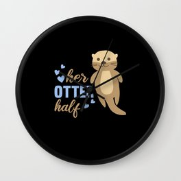 Her Otter Helped Sweet Otter Love Romantic Heart Wall Clock