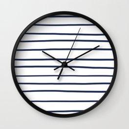 Pantone Blue Depths 19-3940 Hand Drawn Horizontal Lines on White Wall Clock