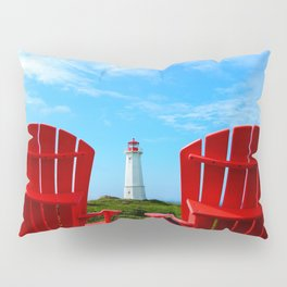 Lighthouse and chairs in Red White and Blue Pillow Sham