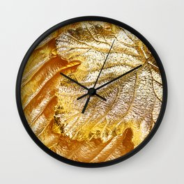 Gold metallic texture leaf plant Wall Clock